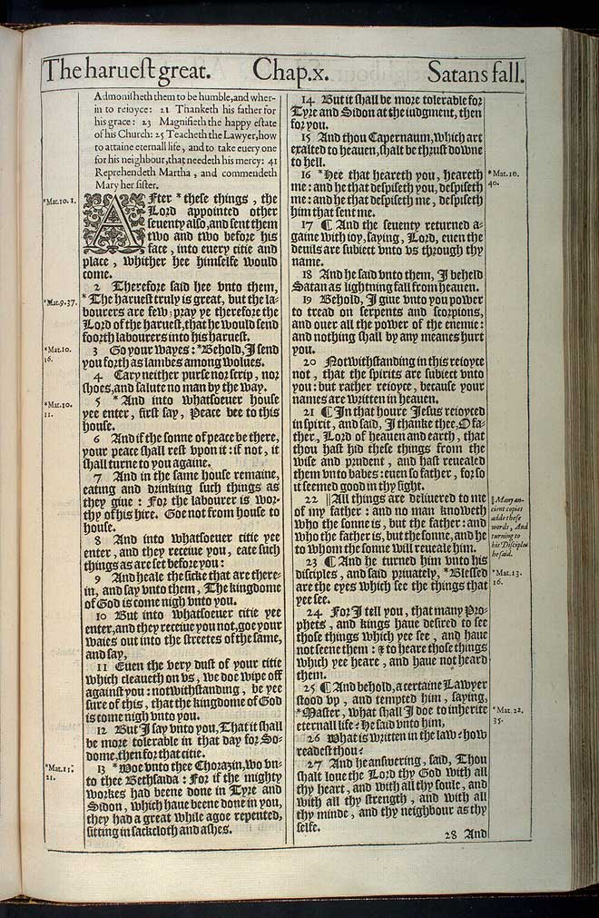 Luke Chapter 10 Original 1611 Bible Scan