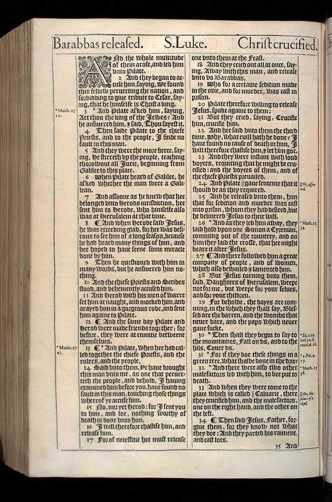 Luke Chapter 23 Original 1611 Bible Scan