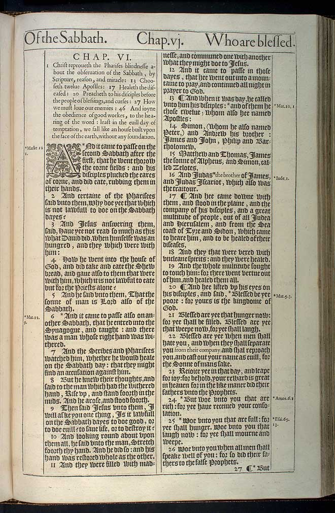 Luke Chapter 6 Original 1611 Bible Scan