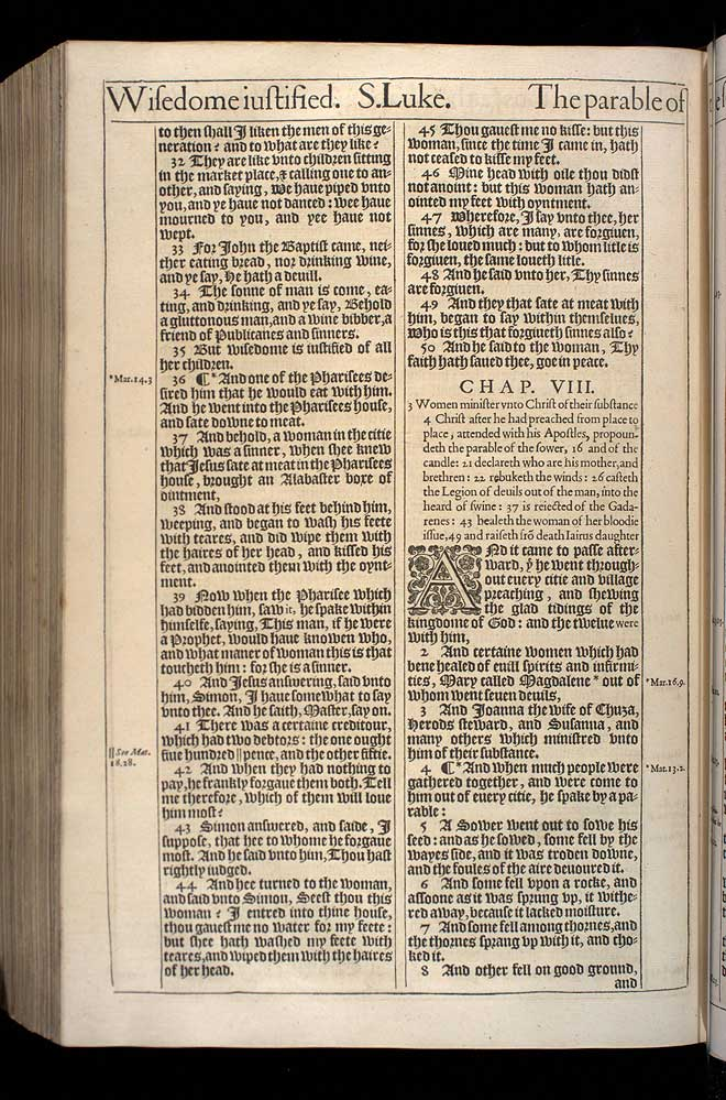 Luke Chapter 8 Original 1611 Bible Scan