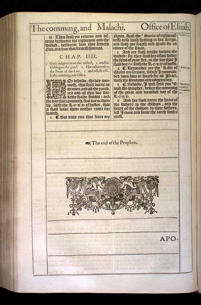 Malachi Chapter 3 Original 1611 Bible Scan