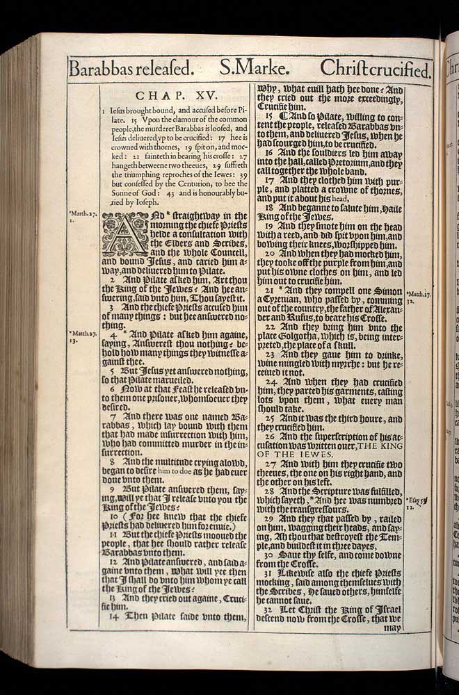 Mark Chapter 15 Original 1611 Bible Scan
