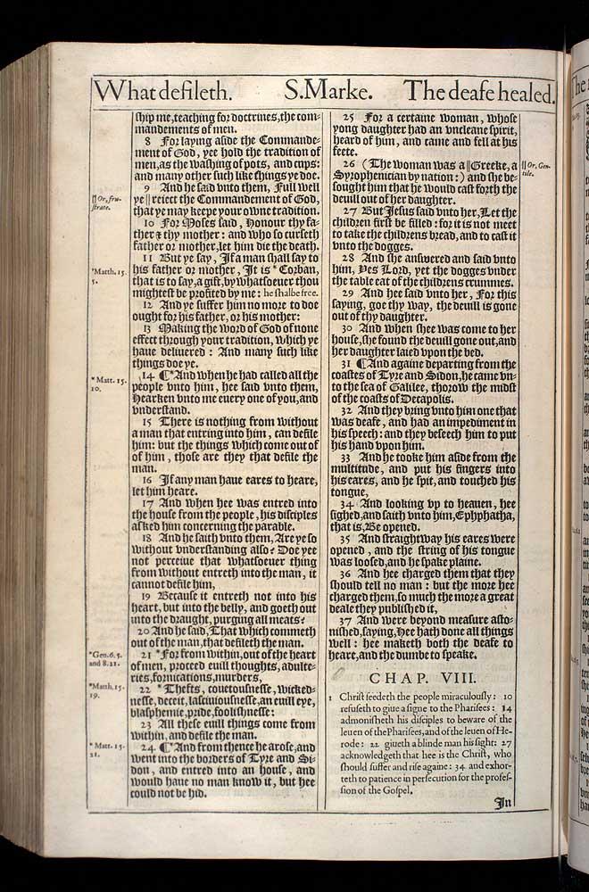 Mark Chapter 8 Original 1611 Bible Scan