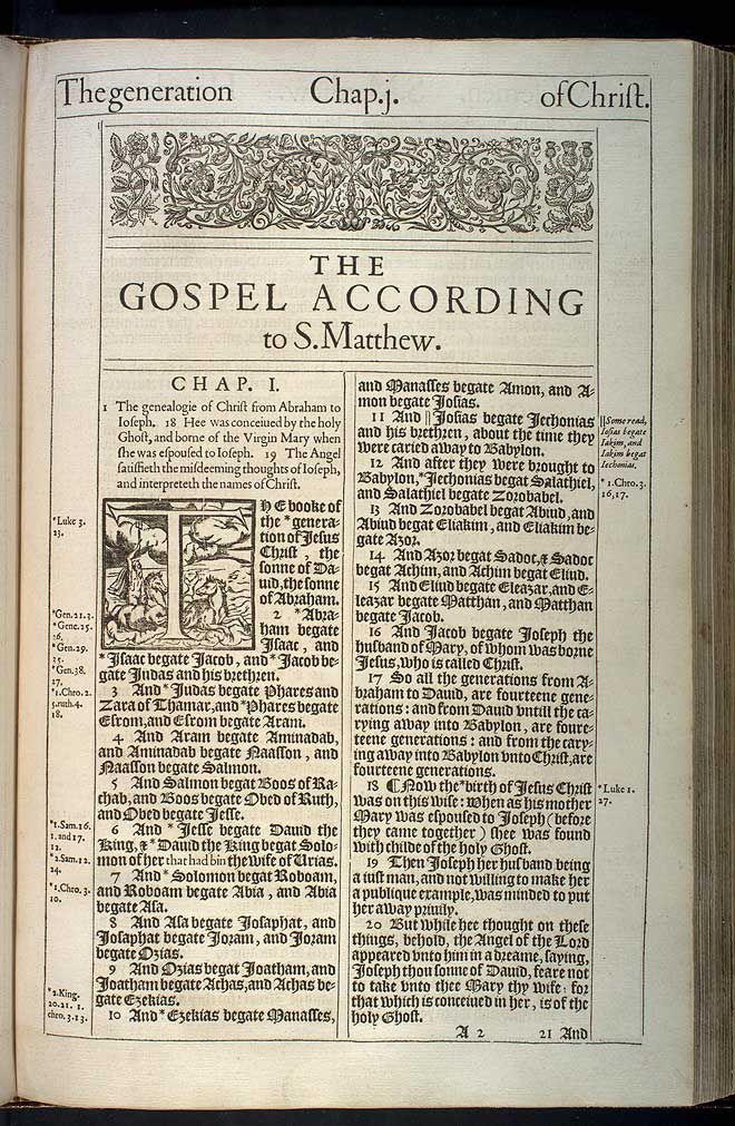 Matthew Chapter 1 Original 1611 Bible Scan