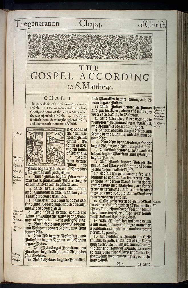 Matthew Chapter 1 Original 1611 Bible Scan