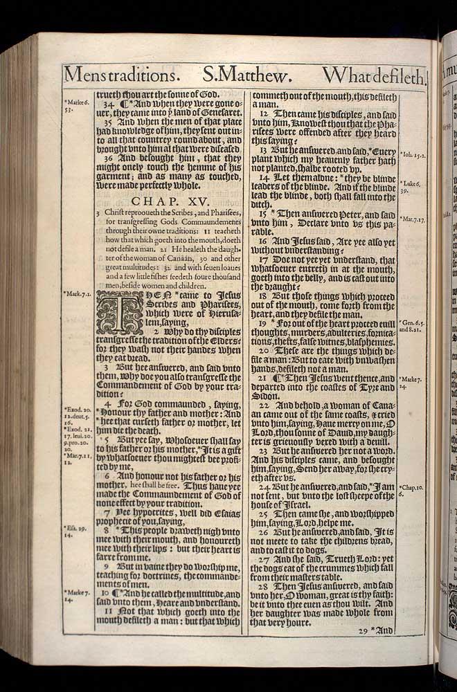 Matthew Chapter 15 Original 1611 Bible Scan