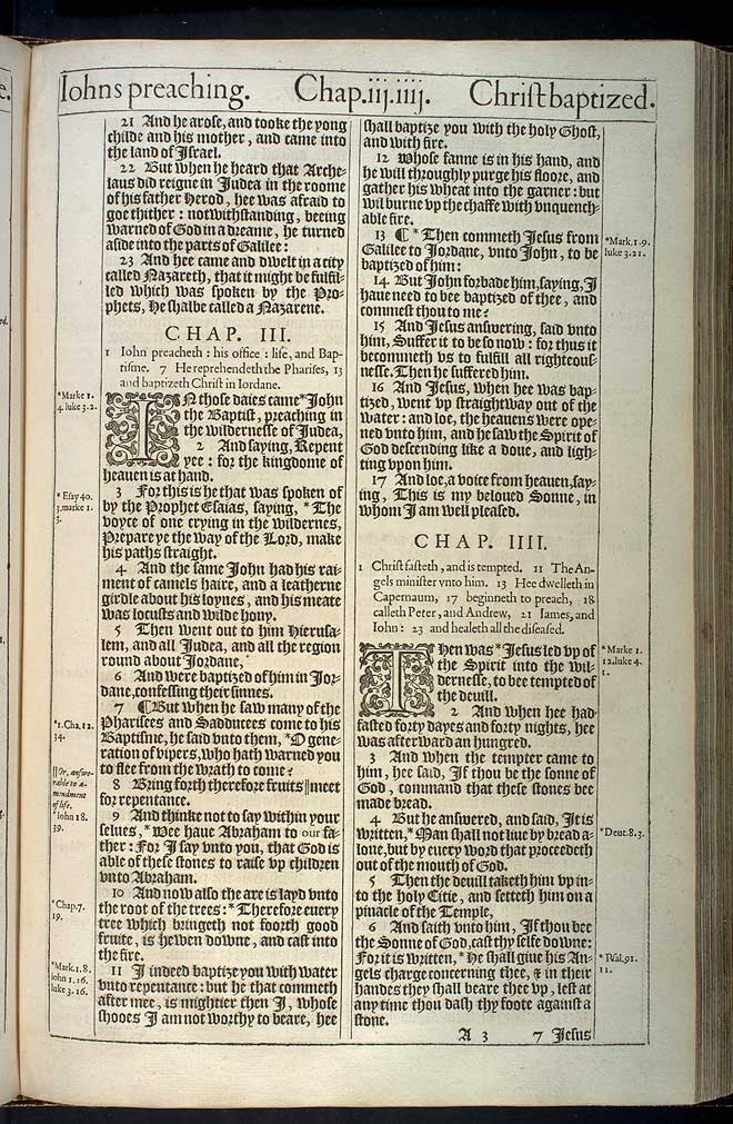 Matthew Chapter 3 Original 1611 Bible Scan