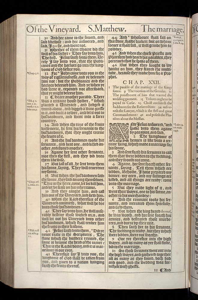 Matthew Chapter 22 Original 1611 Bible Scan