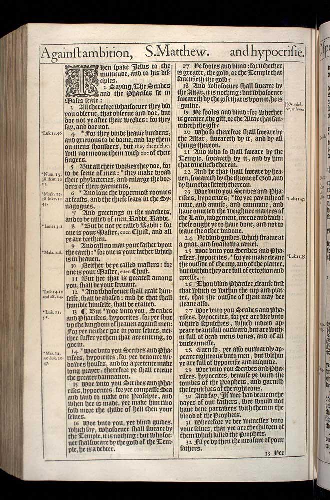 Matthew Chapter 23 Original 1611 Bible Scan