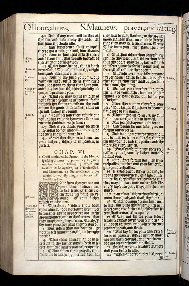 Matthew Chapter 6 Original 1611 Bible Scan
