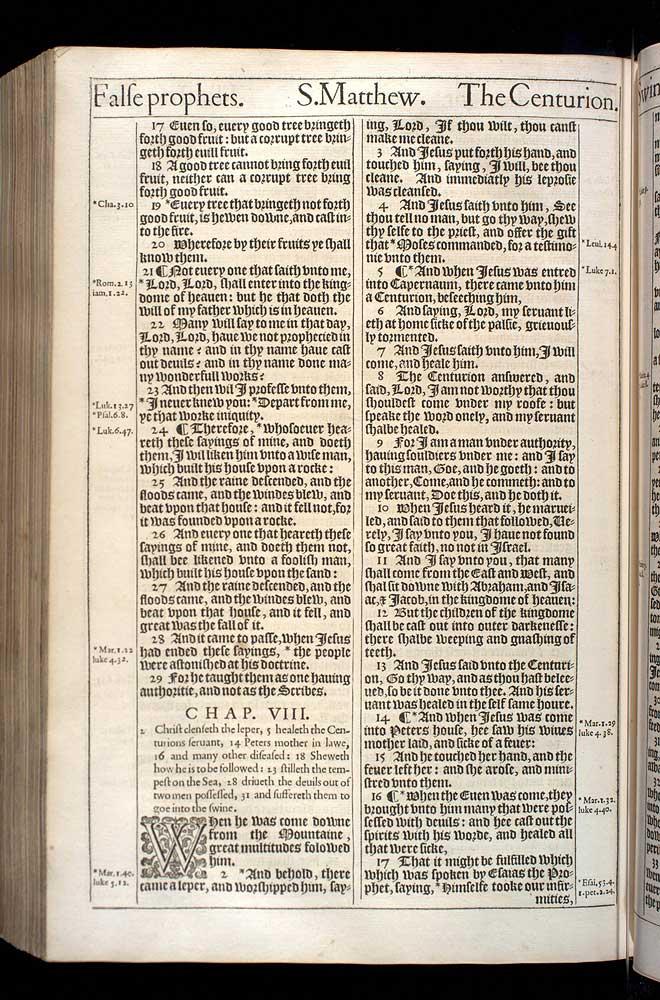 Matthew Chapter 8 Original 1611 Bible Scan