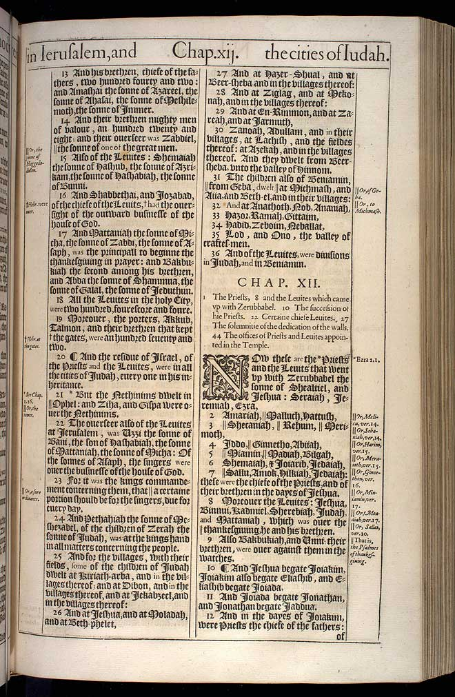 Nehemiah Chapter 11 Original 1611 Bible Scan