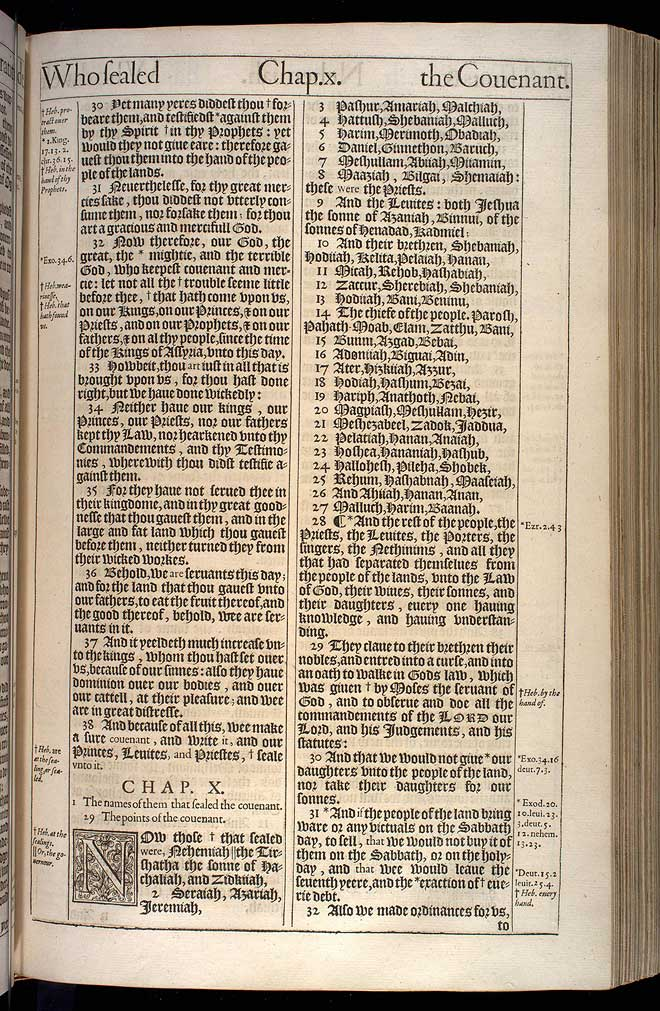 Nehemiah Chapter 10 Original 1611 Bible Scan
