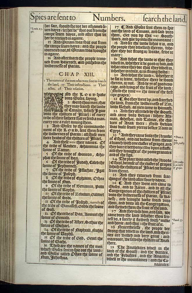 Numbers Chapter 13 Original 1611 Bible Scan