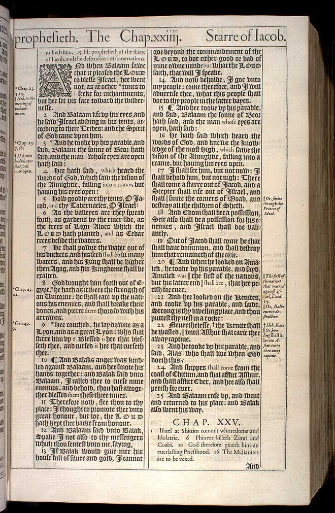 Numbers Chapter 24 Original 1611 Bible Scan