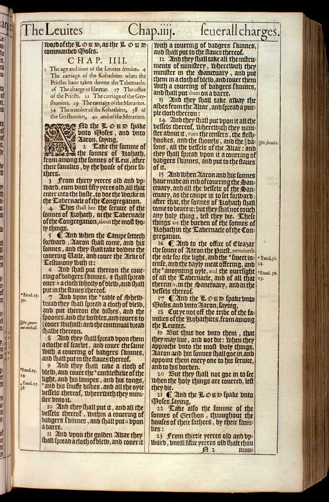 Numbers Chapter 3 Original 1611 Bible Scan