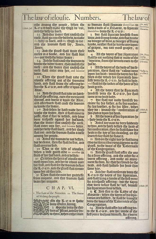NUMBERS CHAPTER 6 (ORIGINAL 1611 KJV)