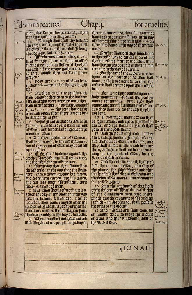 Obadiah Chapter 1 Original 1611 Bible Scan