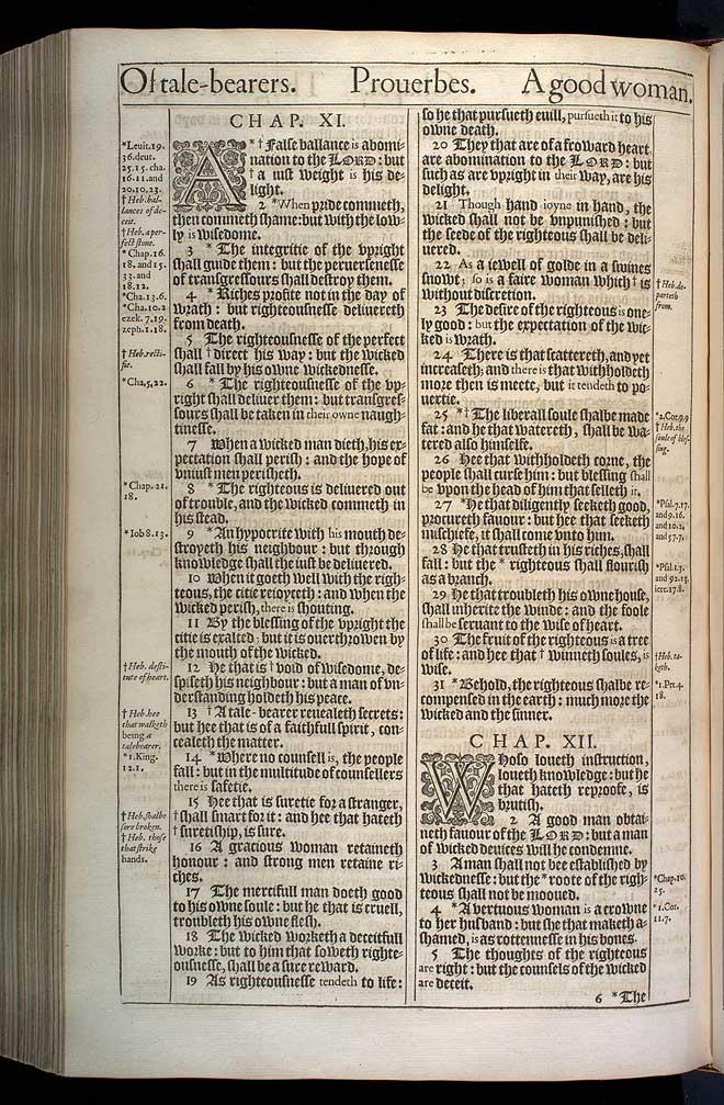 Proverbs Chapter 11 Original 1611 Bible Scan
