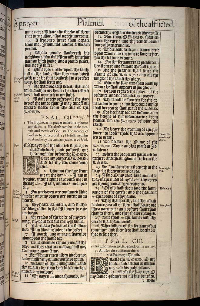 Psalms Chapter 102 Original 1611 Bible Scan