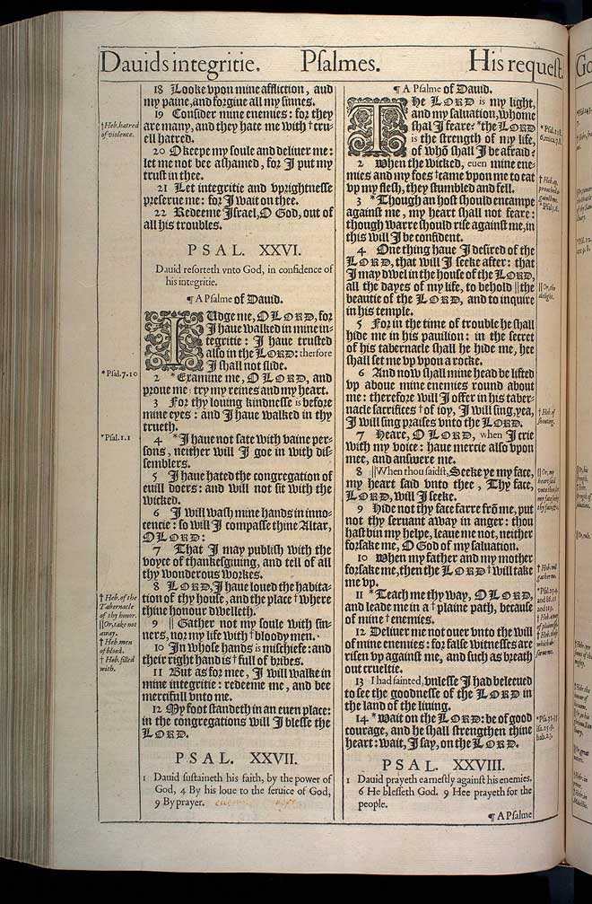 Psalms Chapter 27 Original 1611 Bible Scan