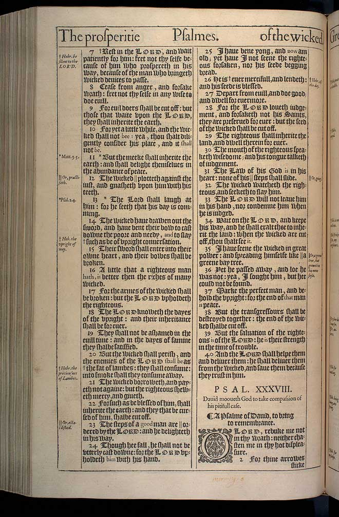 Psalms Chapter 38 Original 1611 Bible Scan