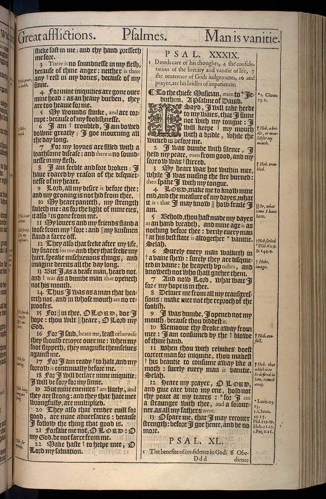 Psalms Chapter 39 Original 1611 Bible Scan