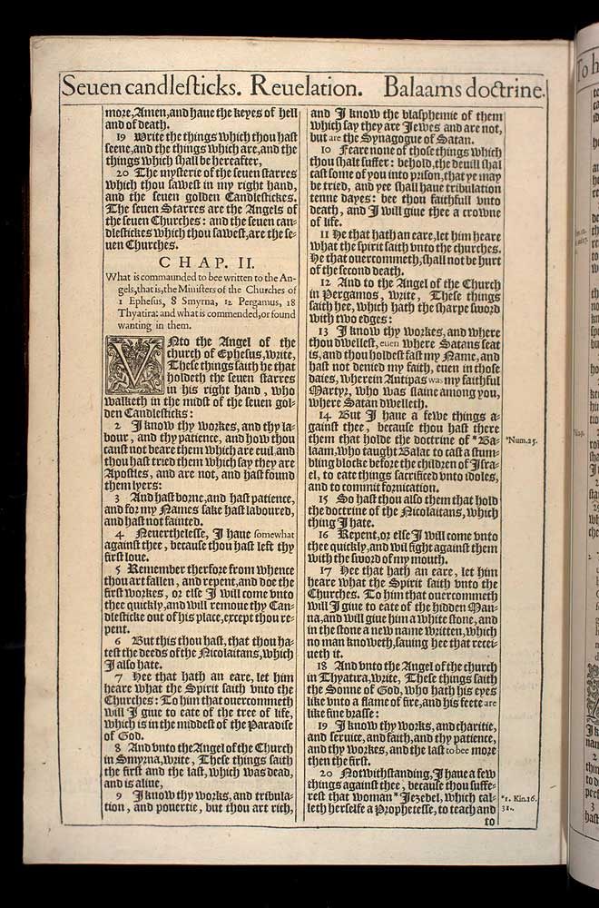 Revelation Chapter 2 Original 1611 Bible Scan