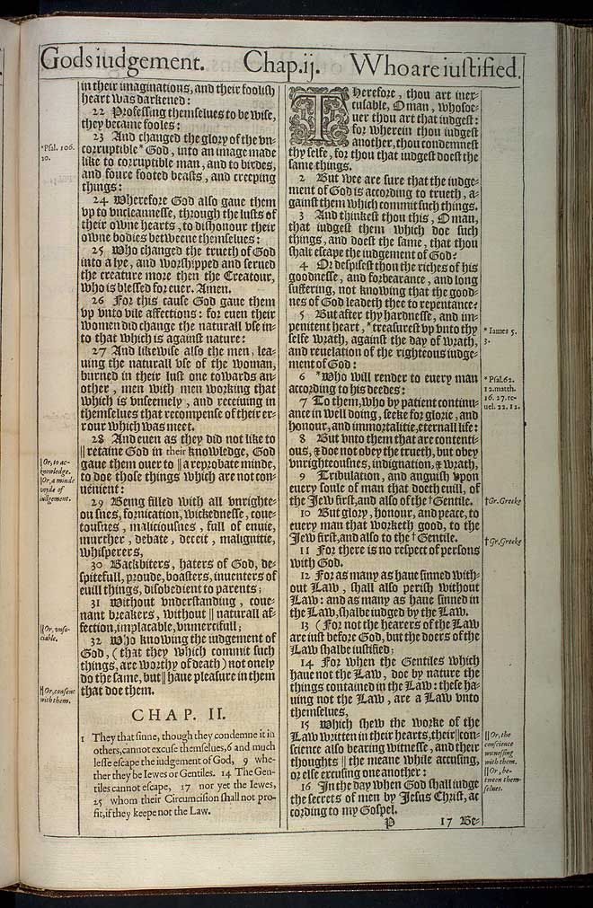 Romans Chapter 2 Original 1611 Bible Scan