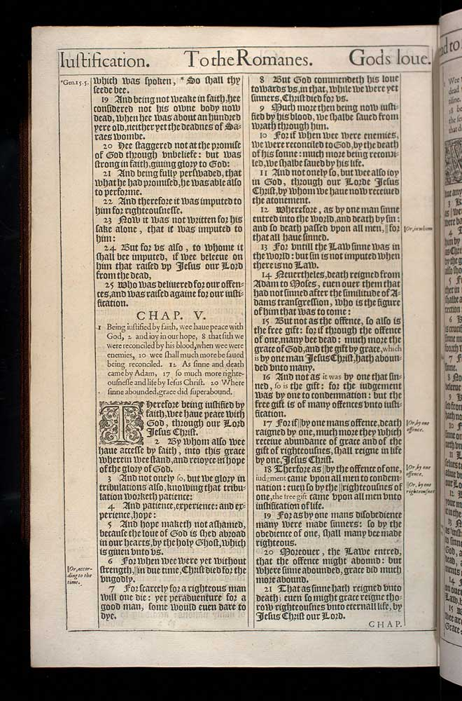Romans Chapter 5 Original 1611 Bible Scan