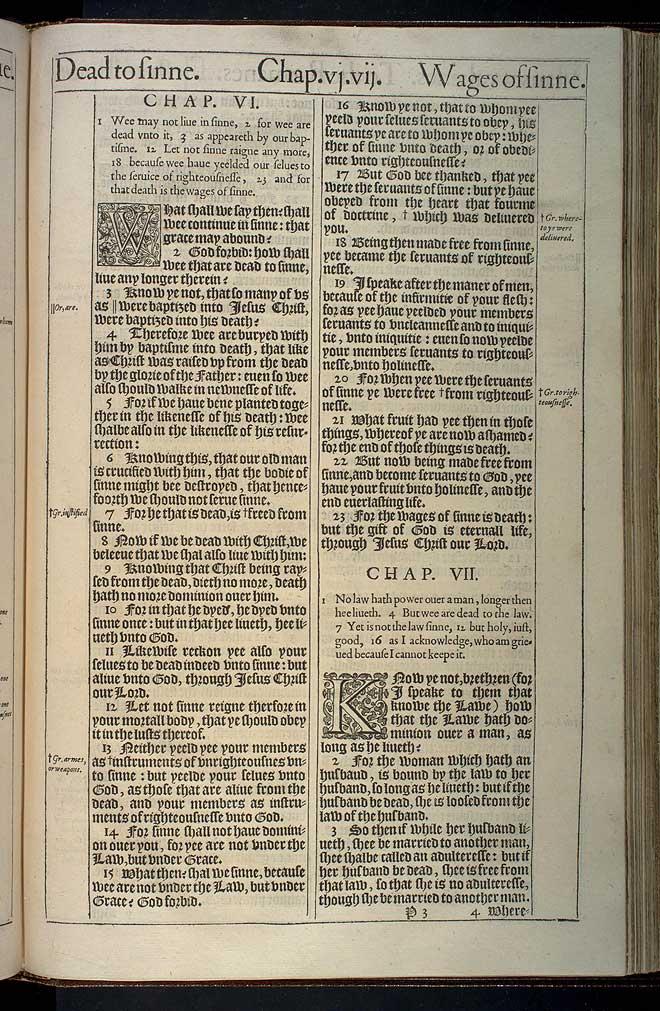 Romans Chapter 6 Original 1611 Bible Scan