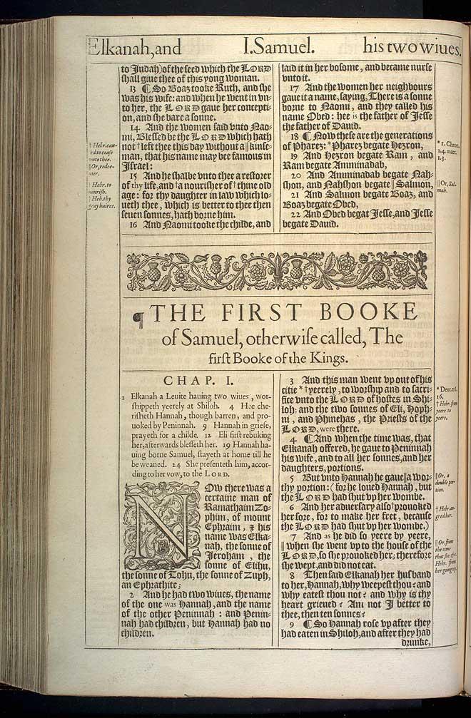 1 Samuel Chapter 1 Original 1611 Bible Scan