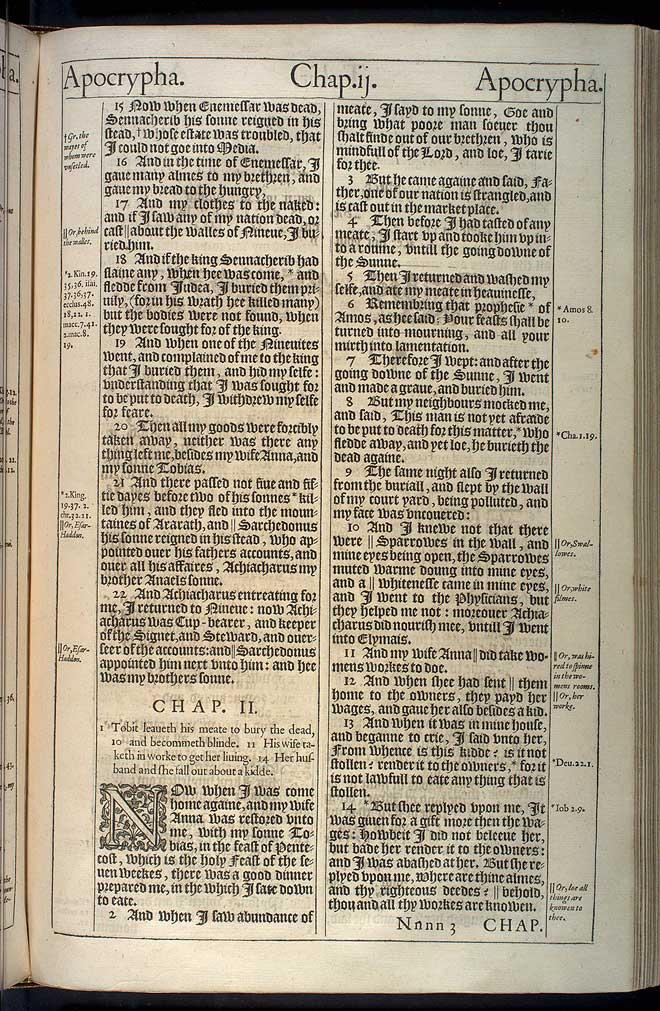 Tobit Chapter 2 Original 1611 Bible Scan