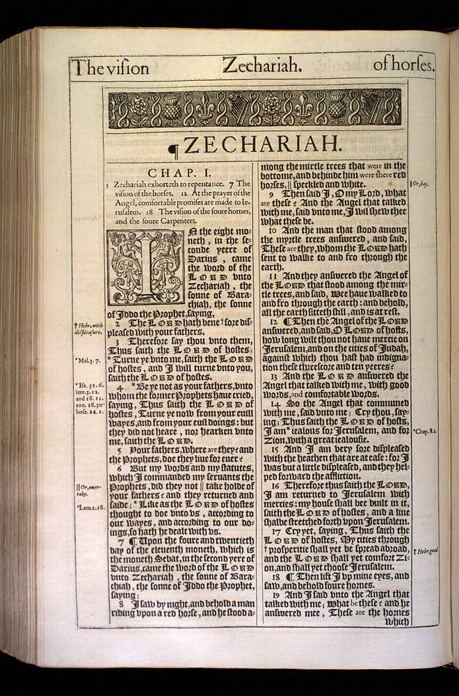 Zechariah Chapter 1 Original 1611 Bible Scan