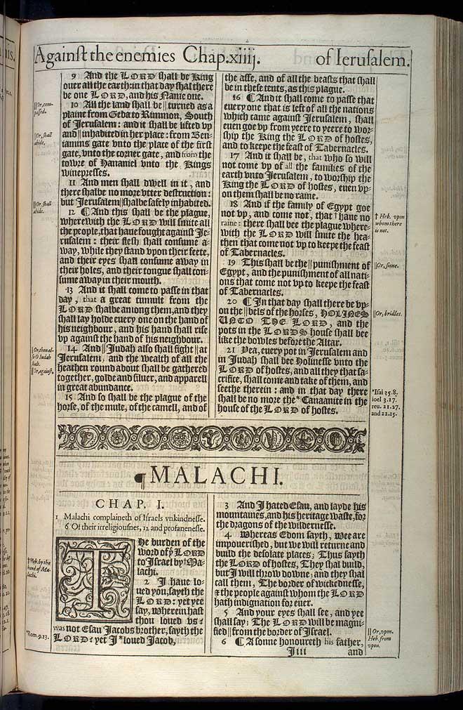 Malachi Chapter 1 Original 1611 Bible Scan