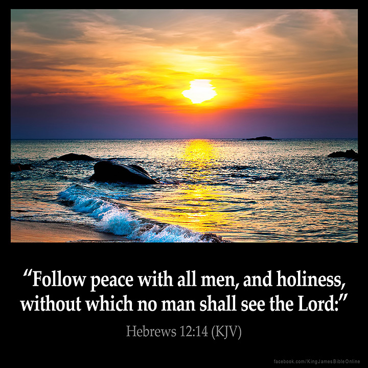 "HEBREWS 12:14 KJV ""Follow peace with all [men], and holiness, without which no man shall see the Lord:"""