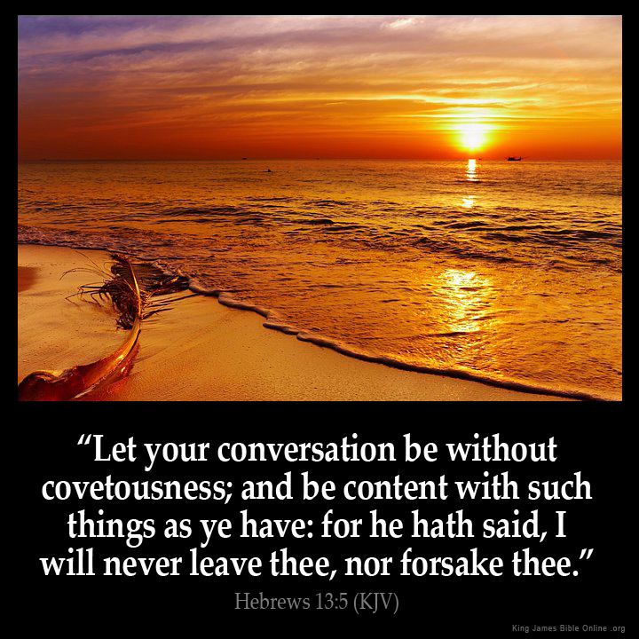 Hebrews 13:5 Inspirational Image