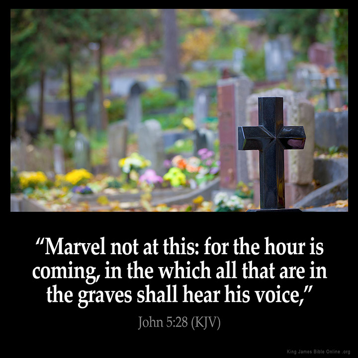 "JOHN 5:28 KJV ""Marvel not at this: for the hour is coming, in the ..."
