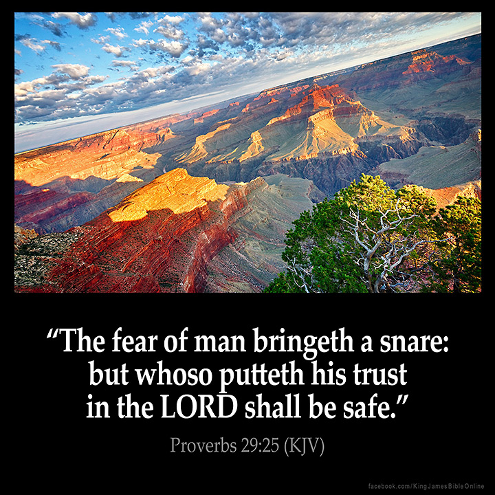Image result for the fear of man brings a snare to your soul kjv