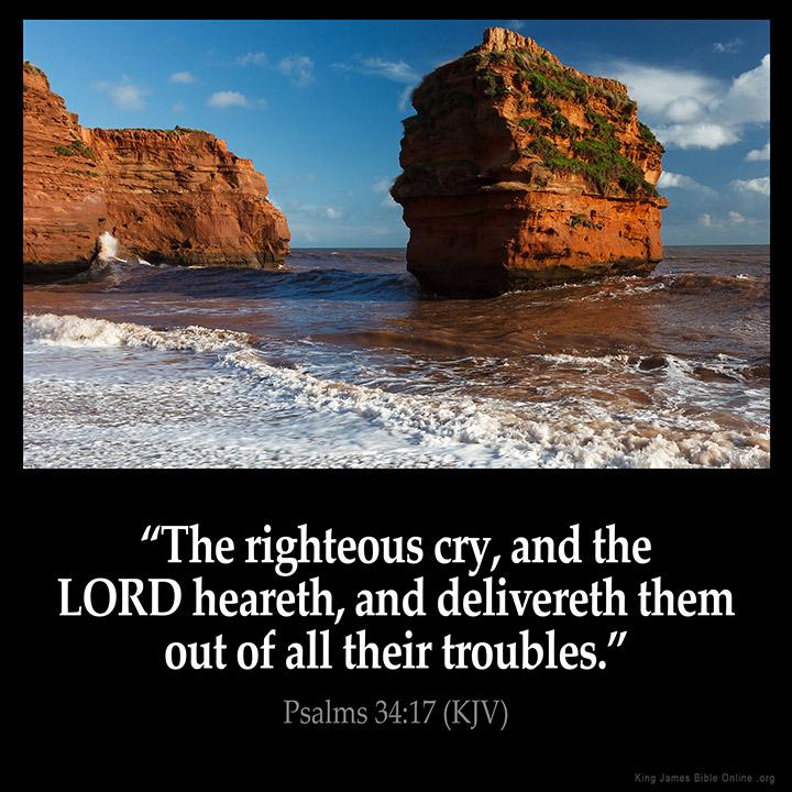 Psalms 34:17 Inspirational Image