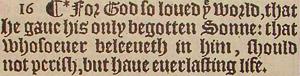 1611 Original Gothic characters KJV Bible John 3:16
