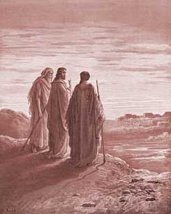 Luke Chapter 24: Jesus and two Disciples going to Emmaus