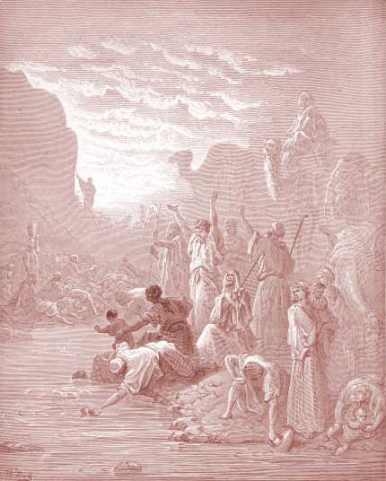 Gustave Doré, Mosè colpisce la roccia ad Horeb (Esodo, capitolo 17) dans IMMAGINI DALLA STORIA BIBILICA Exodus-Chapter-17-Moses-Strikes-the-Rock-at-Horeb